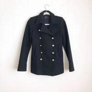 Zara Women coat military buttoned down black sz:Xs